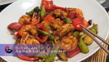 Sichuan asparagus shrimp