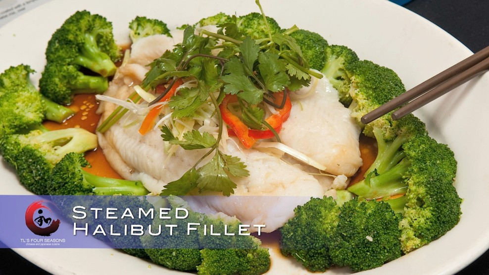 Steamed halibut fillet