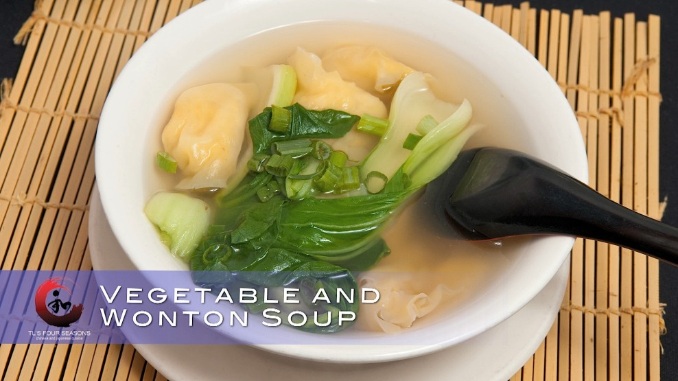 Vegetable and wonton soup